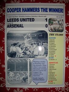 Leeds United 1 Arsenal 0 - 1968 League Cup final - souvenir print