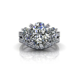 3.10 Ct Oval Real Moissanite Engagement Ring 14K Bridal Solid White Gold Size 9