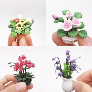 Mini-Dollhouse-Miniature-Green-Plant-Flower-in-Pot-Fairy-Garden-Accessory