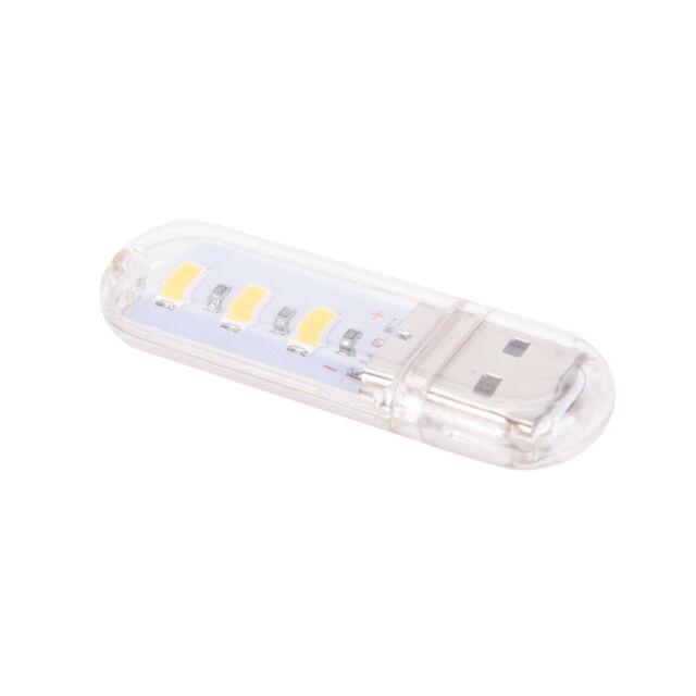 3LED Night Light Card Lamp Keychain White Pocket Mini USB Touch Switch Hot LEYN