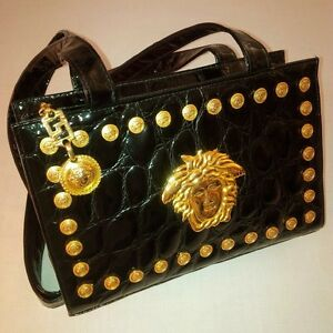 Image is loading GIANNI-VERSACE-COUTURE-EMBOSSED-PATENT-LEATHER-MEDUSA- HANDBAG- eaf9c17d2c84f