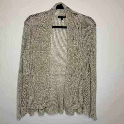 Eileen Fisher Chain Stitch Cardigan Beige Linen/Co
