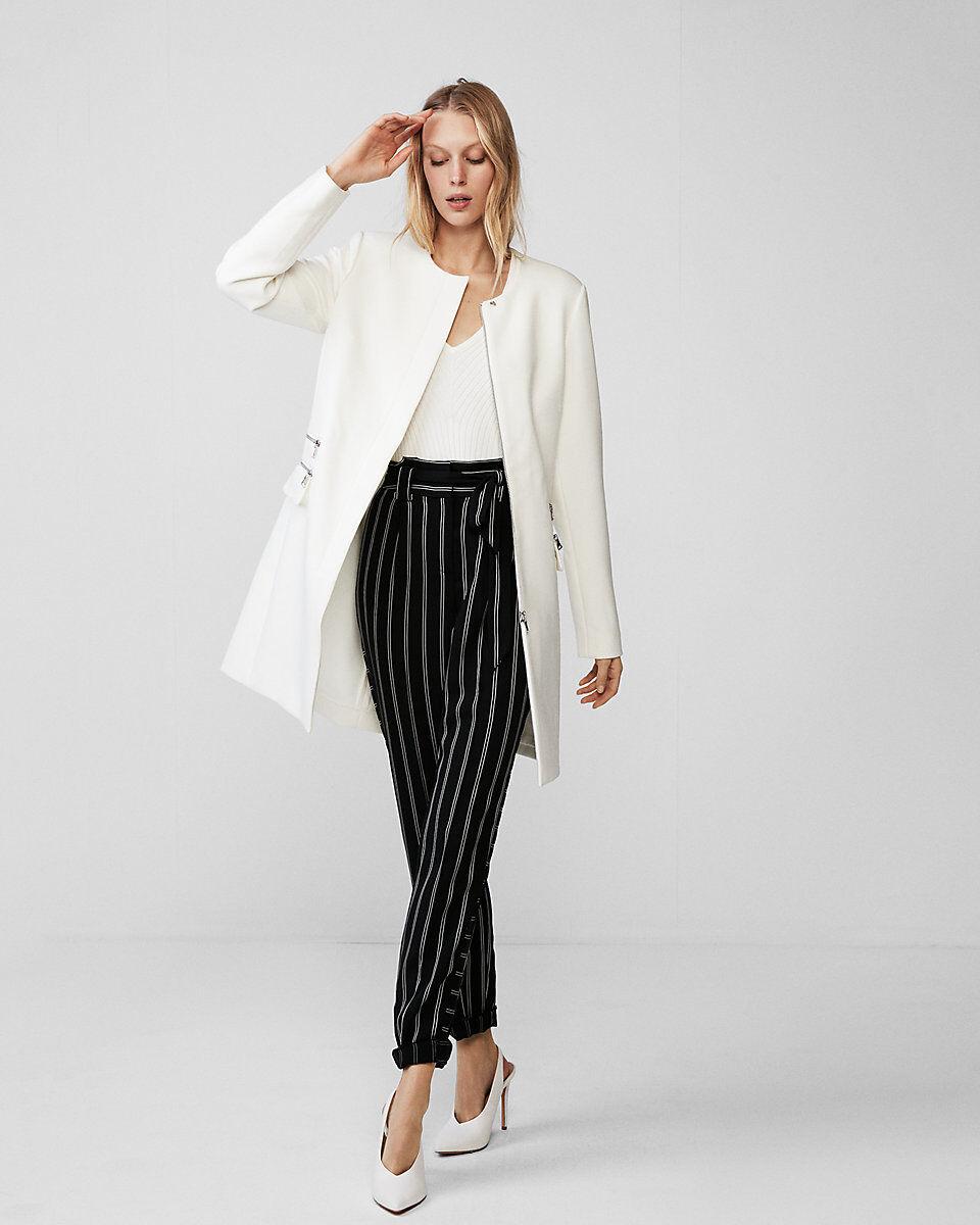 NWT Express Women's Zip Detail Collarless Coat Size-XS