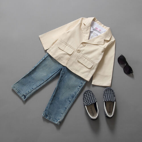 Pants Gentleman Formal Party Outfits 2//3 Pcs Kids Boys Dress Shirt Blazer Coat