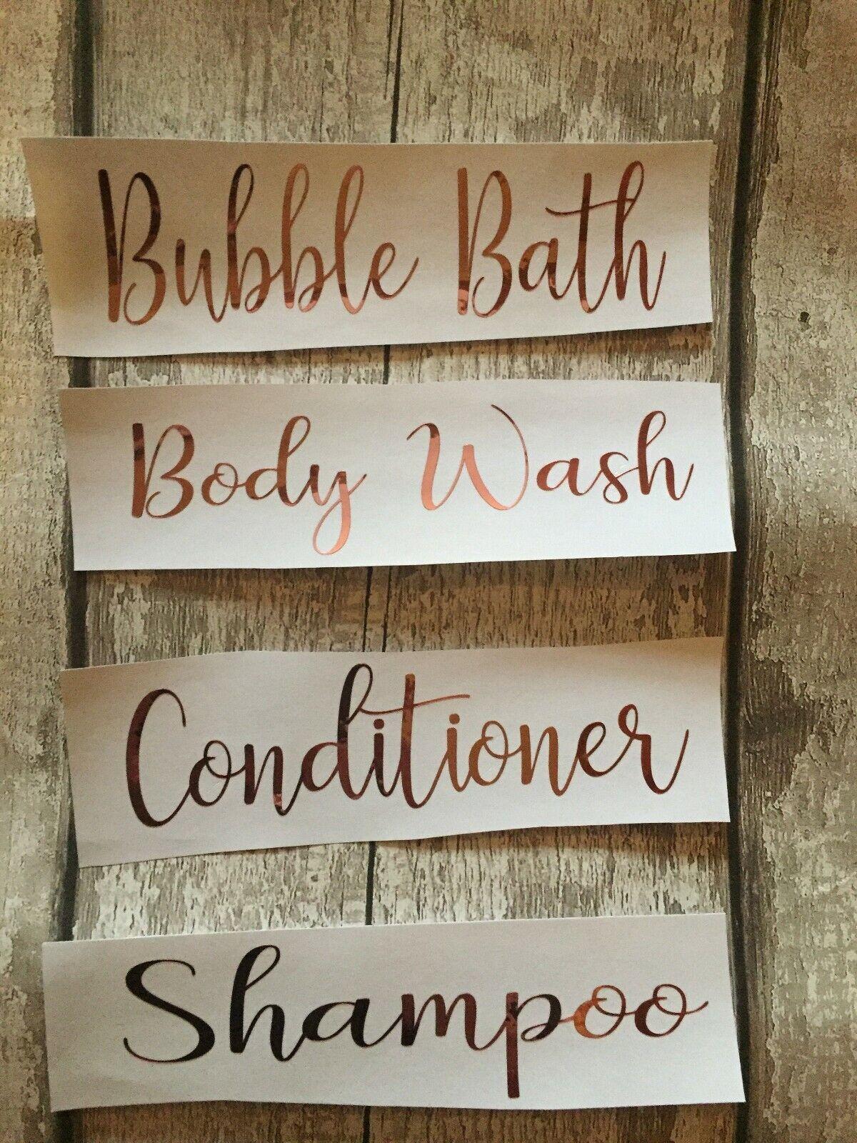 Bathroom Bottle Vinyl Stickers Labels Shampoo Conditioner Body Wash 99p per word