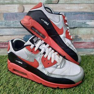 Nike-AIR-MAX-90-Scarpe-Da-Ginnastica-Stivali-in-Pelle-UK5-US5-5-EU38-Rosso-Nero-Argento-Bianco