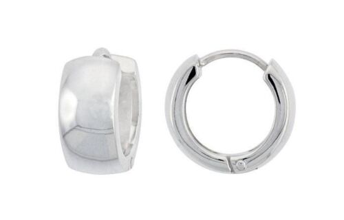 Bright Polish 925 Sterling Silver Huggie Hoop Dome Round Shape 1//2inch Earrings