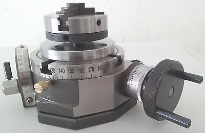 """Rotary Table Tilting 4"""" / 100mm with 65mm Lathe Chuck for Milling Machine"""