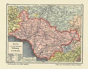 Oberamt Schorndorf Bauser Hand-Atlas REPRINT der KARTE von 1885 Adelberg