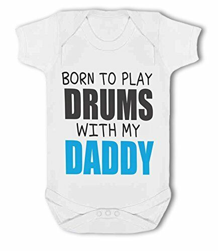 Baby Vest by BWW Print Ltd Born to Play Drums with Daddy//Mummy pink//blue