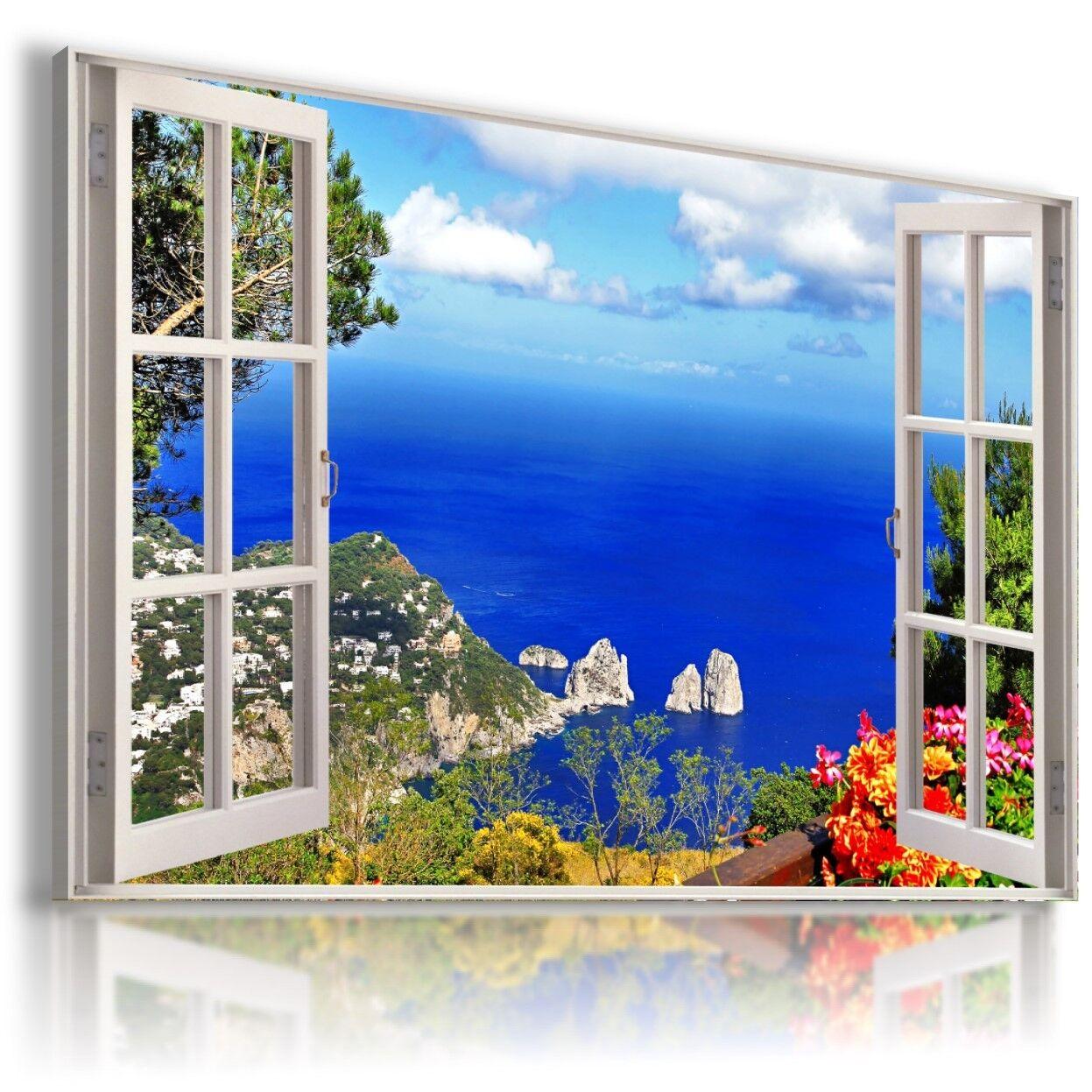 Estate Fiume Lago Montagne 3D finestra Vedi foto su tela Wall Art W531 mataga