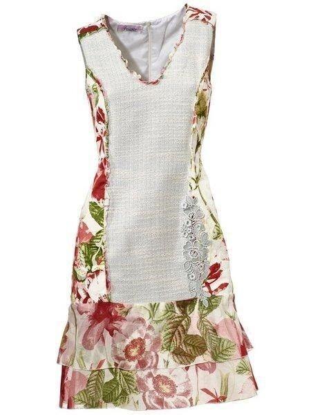 Kleid Linea Tesini Patchkleid bunt Gr. 34 NEU