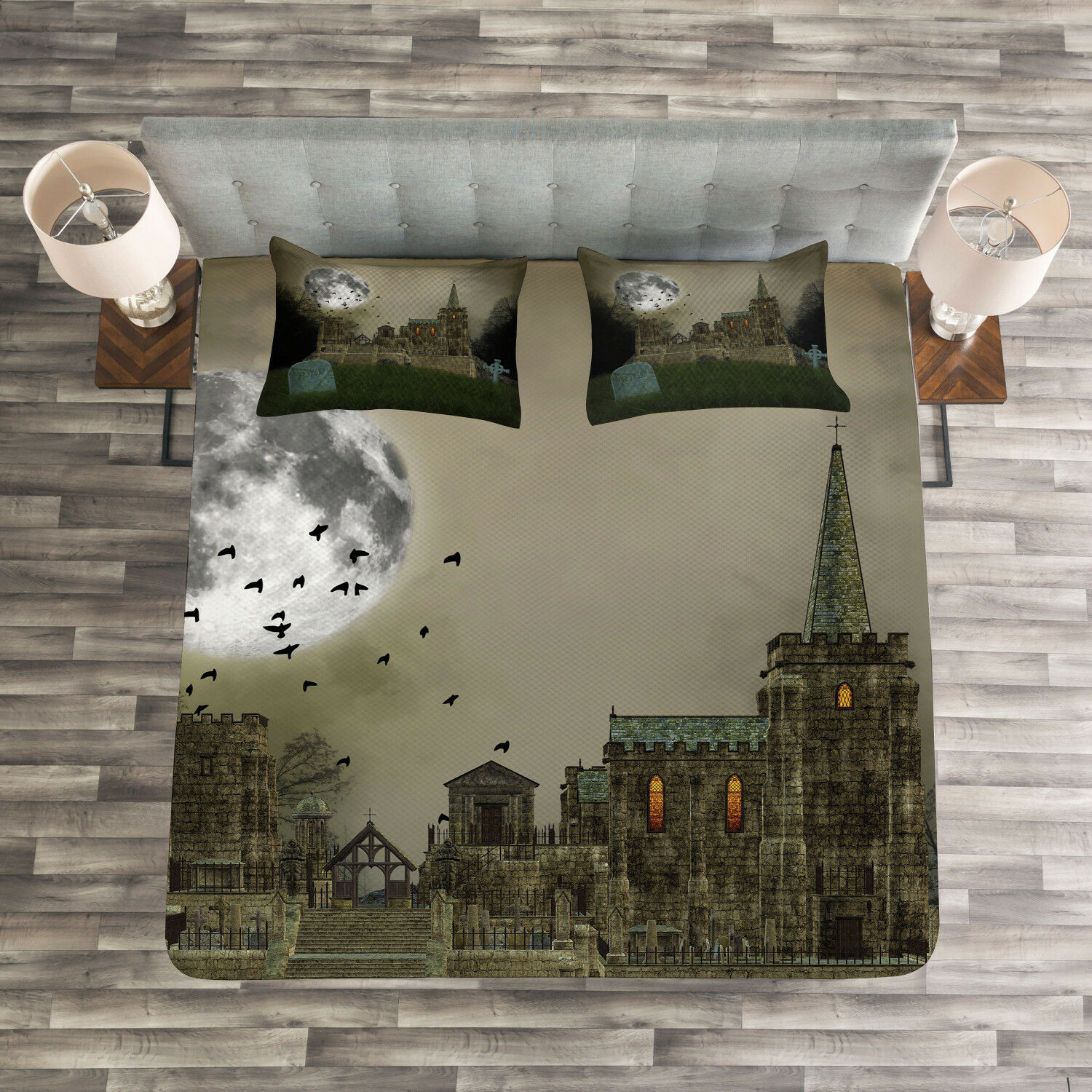 Gothic Quilted Bedspread & Pillow Shams Set, Old Village and Grave Print