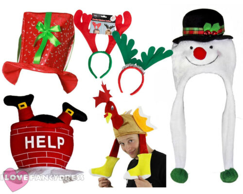 NOVELTY CHRISTMAS HAT 5 PACK XMAS FANCY DRESS PARTY OFFICE WORK NOVELTY HATS