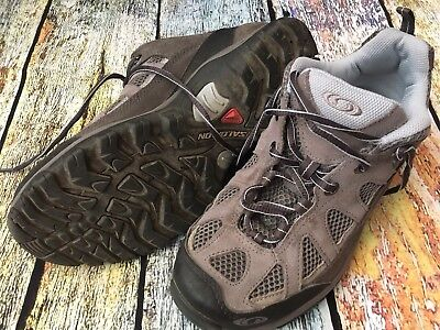 SALOMON Contagrip Gray Blue Trail Hiking Shoes Men's Size 6.5 US 40 EU | eBay