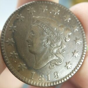 1819-Coronet-Head-Matron-Large-Cent-Small-Date-Very-Fine-VF-or-XF-N-10-R-4