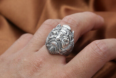 925 Sterling Silver Zhong Kui To ward off bad luck Ring Retro US SIZE 7-11 P531