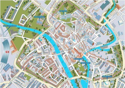 York Street mapa 1000 Pieza Rompecabezas 690mm X 480mm JG