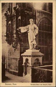 Bremen-Postkarte-1920-30-Innenansicht-Dom-Christus-Statue-von-Dausch-ungelaufen