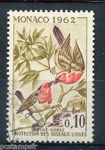 MONACO-1962-timbre-582-OISEAUX-ROUGE-GORGE-oblitere