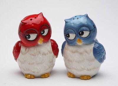 10907 Owl Couple Salt Pepper Shaker Set Holiday Wedding Love Christmas Red Blue
