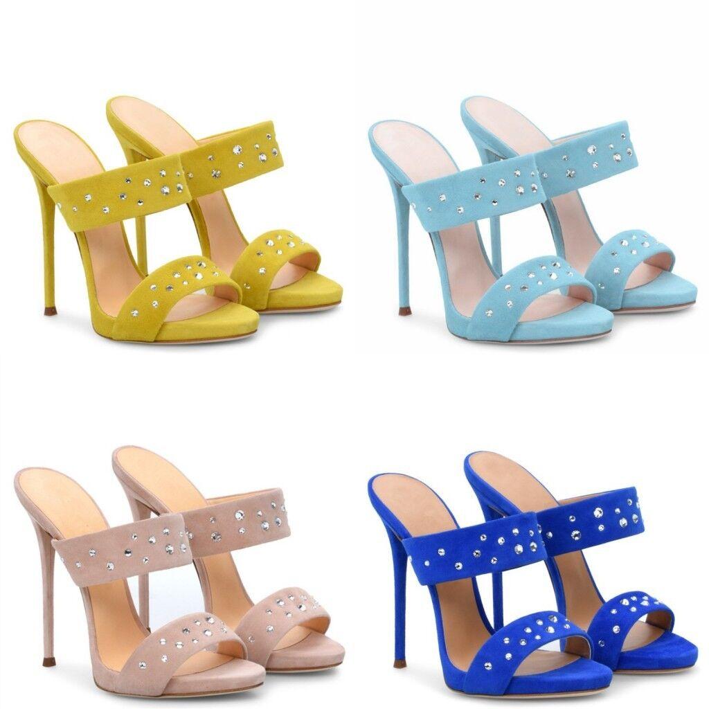 Casual femmes Stilettos High Heels Slipper Beads Rhinestones Summer Suede chaussures