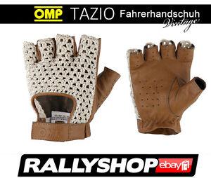 Klassiche-OMP-TAZIO-Handschuhe-Vintage-Classic-alle-Groessen-Braun-Leder-Oldtimer