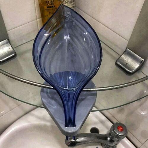 Leaf Shape Plastic Soap Box Bathroom Organizer Holder Self Draining Container