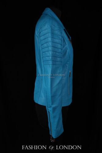 da Jenner moto di morbida pelle donna agnello Giacca modello Blue in Light da OHqdqc6