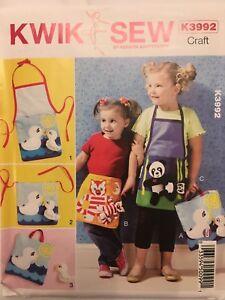 Kwik-Sew-Pattern-K3992-Craft-Child-Kids-Apron-Pocket-Tote-Toy-Applique-Uncut