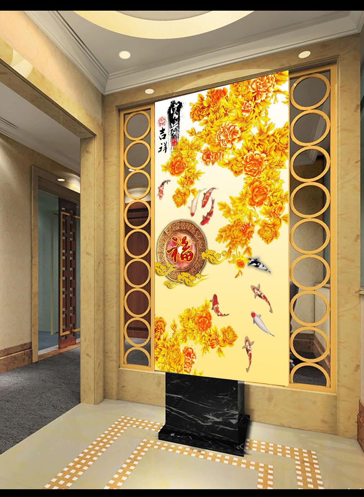 3D Blendend Goldene Blumen 74 Tapete Wandgemälde Tapete Tapeten Bild Familie DE