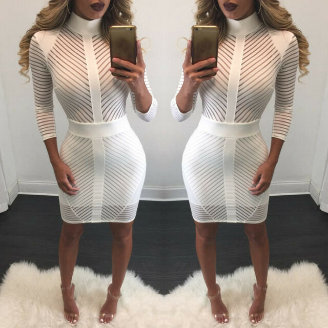 Sexy's Women Long Sleeve High-Collar Perspective Bodycon Party Cocktail Dresses