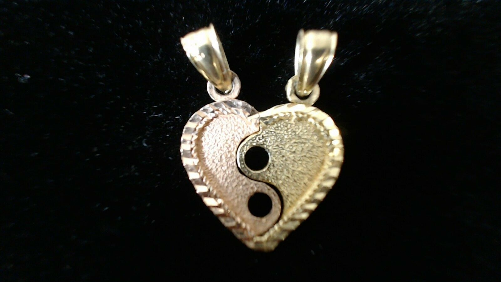 14K Solid Yellow Pink gold Heart yin-yang Charm Pendant can be separated in two