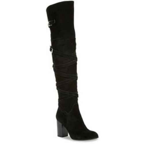 83107ecc6e2 5 of 10 SAM EDELMAN Sable Black Belt Strap Suede Over the Knee Boot NEW