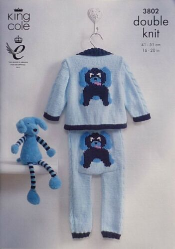 KNITTING PATTERN Baby Puppy Dog Cable Jacket and Leggings DK King Cole 3802