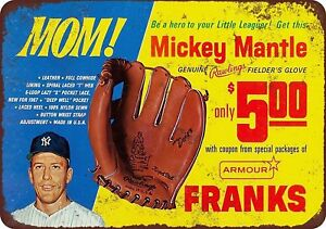 "1967 Mickey Mantle Baseball Glove Rustic Retro Metal Sign 8"" x 12"""