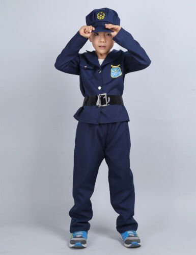 Boys Girls Astronaut Costume Space Suit Police Cop Fancy Dress Cosplay Party Set