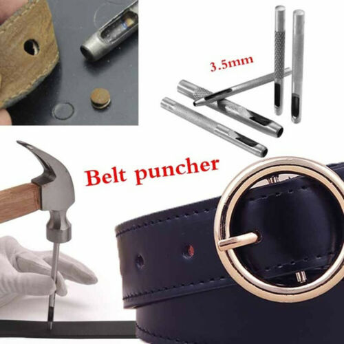 AB/_ 1Pc 3.5mm Steel Hollow Leather Belt Round Hole Puncher Punch Drilling Tool C