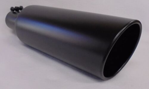 """DODGE 2.5"""" INLET x 5"""" OUTLET x 18/""""L FLAT BLACK DIESEL EXHAUST TIP FORD CHEVY"""