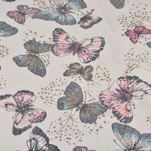 1PC 98x50cm Ramie Cotton Fabric Patchwork Butterfly Pattern Multicolor Cloth