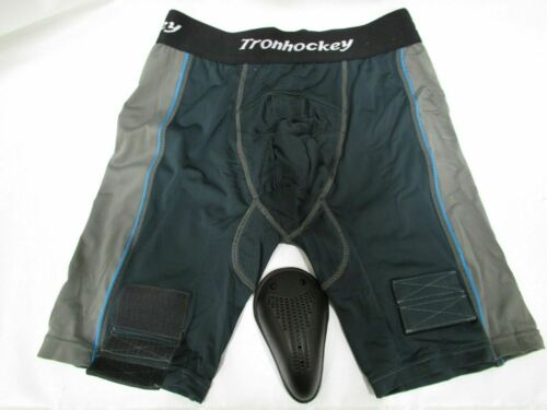 Senior-Extra Large TronX Men`s Compression Fit Ice-Hockey Jock Shorts with Cup