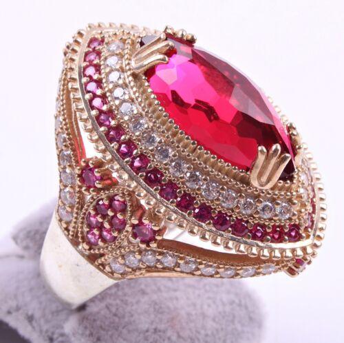 Ruby Stone Turkish bijoux argent 925 fait main Femme Femmes Bague toutes tailles US