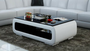 Détails sur Cuir Table Basse Moderne en Verre Design Tableaux Salon Ct9010w