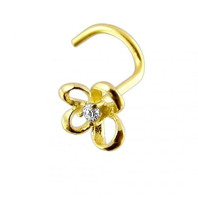 Details about  /20G 14K Solid Gold Cubic Butterfly Nose Screw Stud  Piercing Jewelry