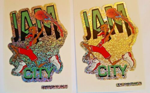"PRIZMATIC FOIL STICKERS 2.5/""X3.5/"" LOT OF 2 JAM CITY MICHAEL JORDAN"