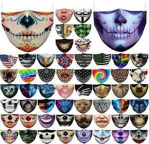 Mens Reusable Unisex Funny Washable Facemask Half Face Mouth Mark HipHop Cartoon