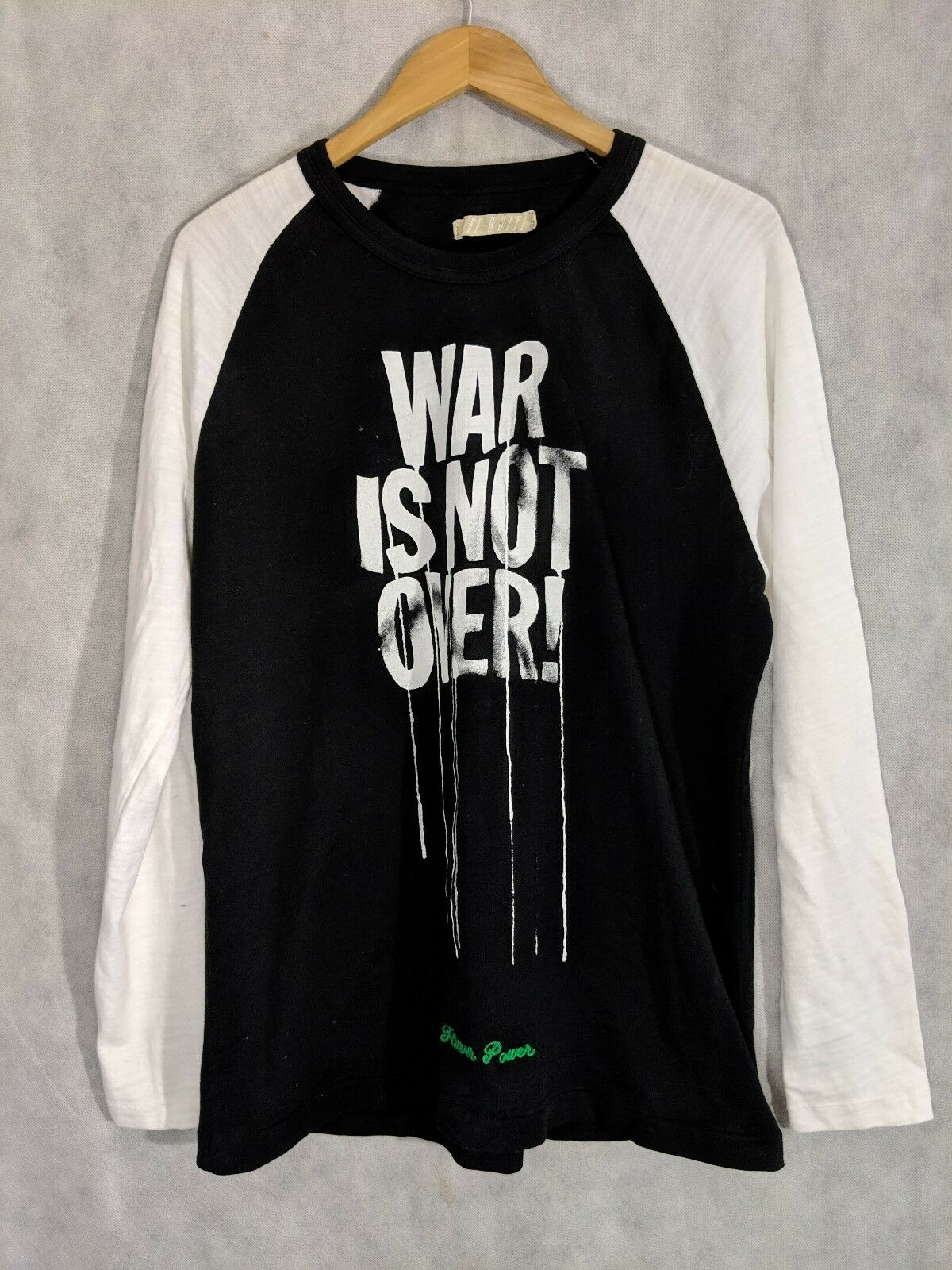 Off White Virgil Abloh FW15 War Is Not Over Paint Splatter Raglan Shirt NWOT XL