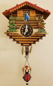 Vintage-Working-German-Bouncing-Girl-Animated-Bluebird-Cuckoo-Chalet-Wall-Clock