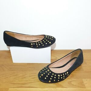 RRP-69-Jones-Black-100-Genuine-suede-leather-gold-studded-ballet-flats-3-shoes