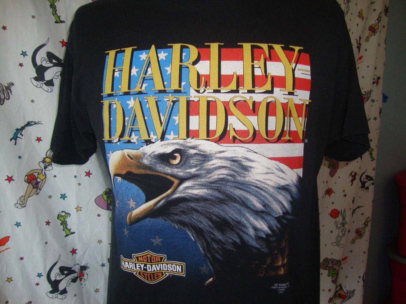 Vintage Harley Davidson Eagle Motorcycle 3D Emblem American Flag T Shirt L